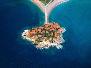 morze wyspa Sveti Stefan, Czarnogóra